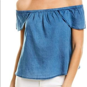 Madewell off the shoulder top 100% cotton blue
